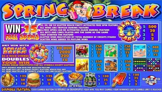 Spring Break :: slot game symbols paytable and game rules