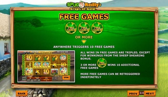 Three or more four-leaf clover symbols anywhere triggers 10 free games.