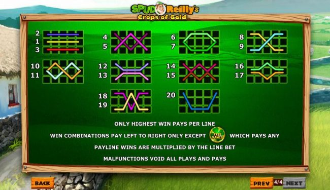 21 Nova featuring the Video Slots Spud O'Reilly's Crops of Gold with a maximum payout of $1,000,000