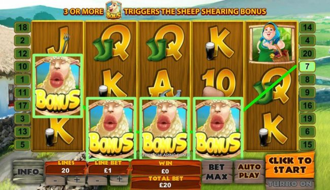 Royal Dice featuring the Video Slots Spud O'Reilly's Crops of Gold with a maximum payout of $1,000,000