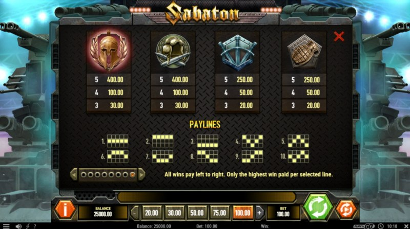 Sabaton :: Paytable - Low Value Symbols
