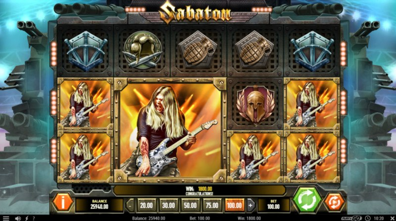 Sabaton :: Multiple winning combinations leads to a big win