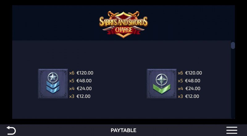 Sabres and Swords Charge :: Paytable - Low Value Symbols