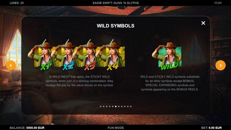 Sadie Swift Gun's n Glyphs :: Wild Symbol Rules