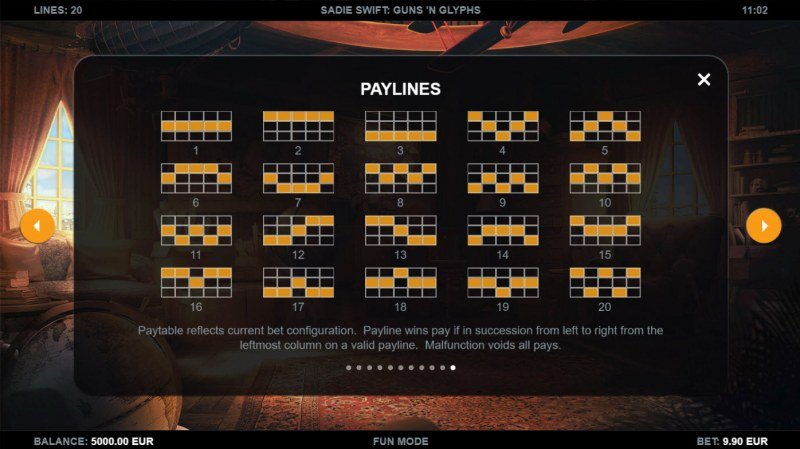 Sadie Swift Gun's n Glyphs :: Paylines 1-20