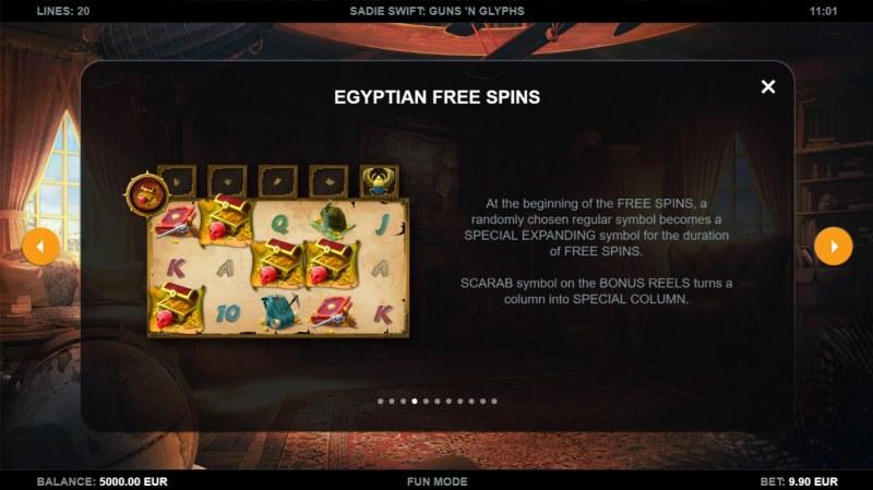 Sadie Swift Gun's n Glyphs :: Free Spin Feature Rules