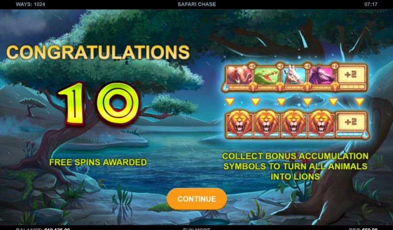 Safari Chase :: 10 free spins awarded