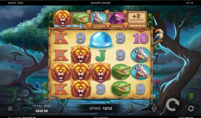 Safari Chase :: A three of a kind win