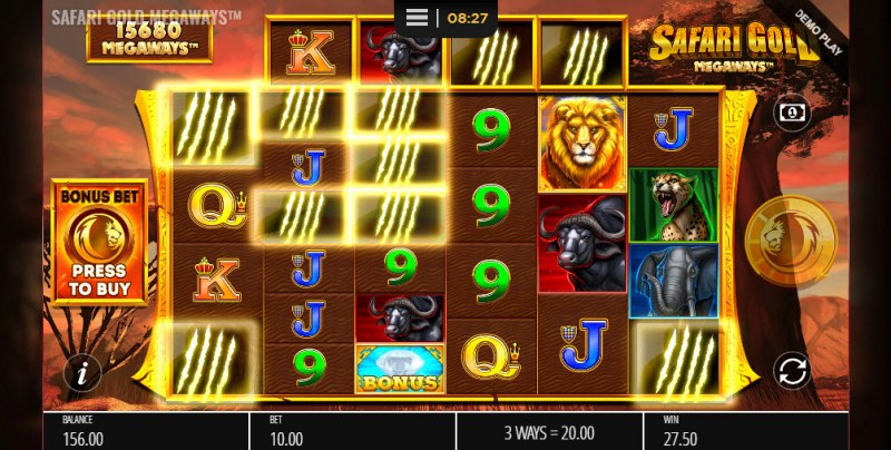 Safari Gold Megaways :: Winning symbols are removed from the reels and new symbols drop in place