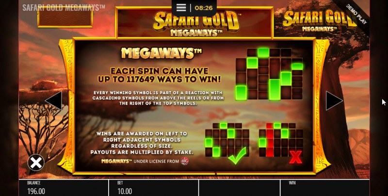Safari Gold Megaways :: Up to 117649 ways to win