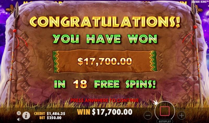 Safari King :: Total free spins payout