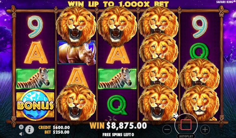 Safari King :: Multiple winning combinations leads to a big win