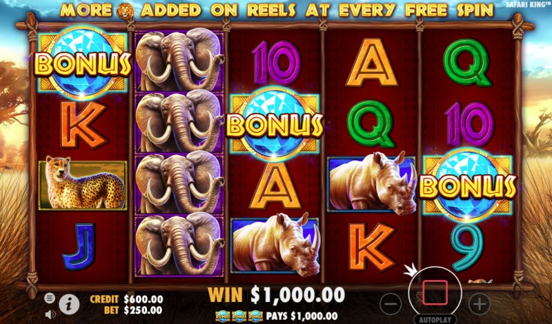 Safari King :: Scatter symbols triggers the free spins feature