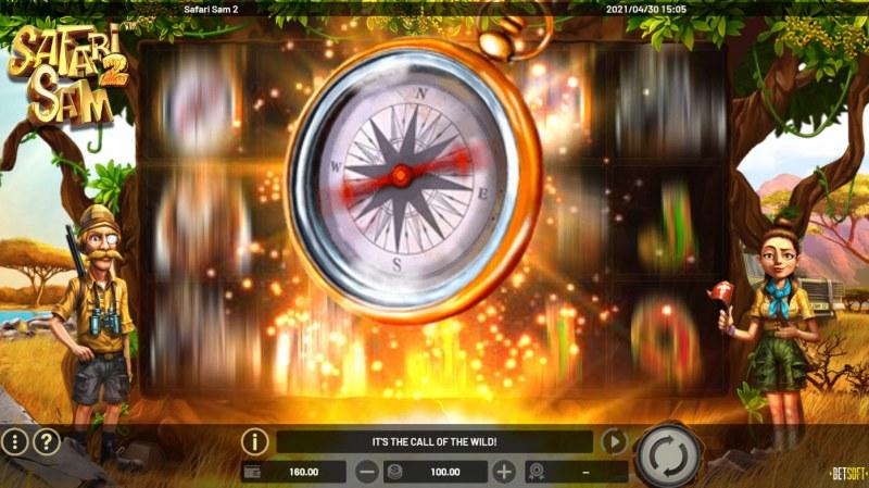 Safari Sam 2 :: Compass wilds feature activated