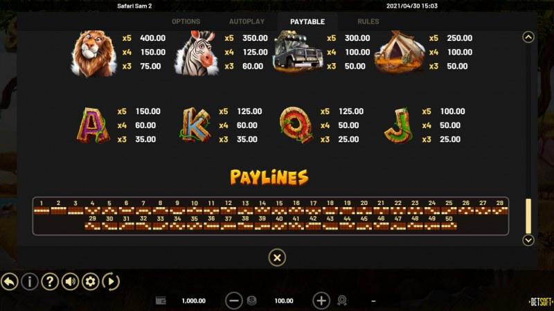 Safari Sam 2 :: Paylines 1-50