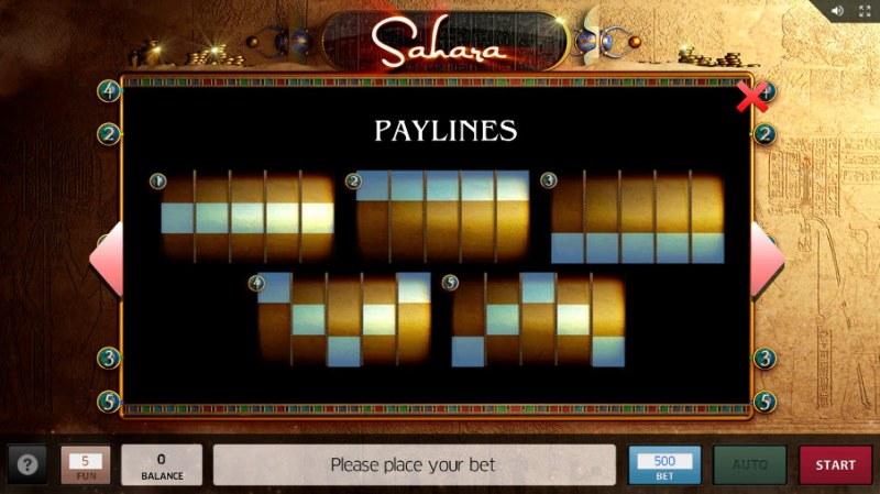 Sahara :: Paylines 1-5