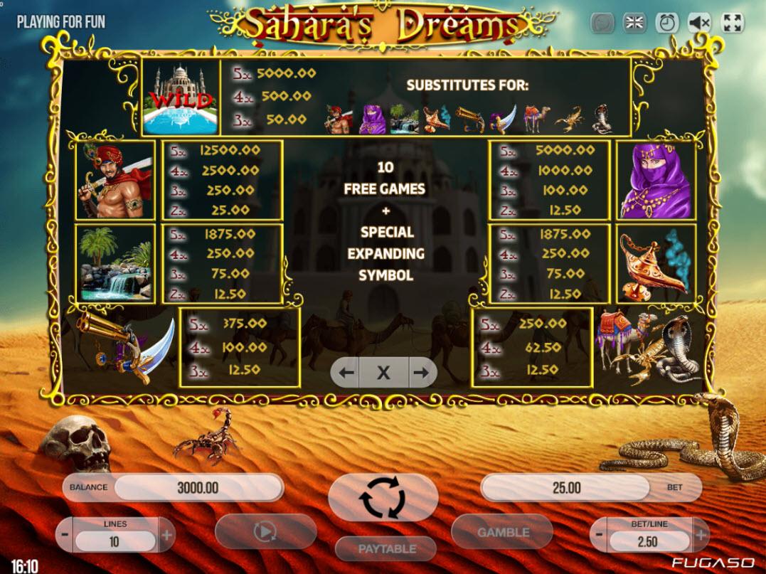 Play slots at Magik Slots: Magik Slots featuring the Video Slots Sahara's Dreams with a maximum payout of $250,000