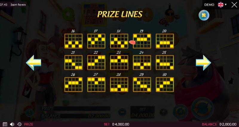 Saint Fermin :: Prize Lines 16-30
