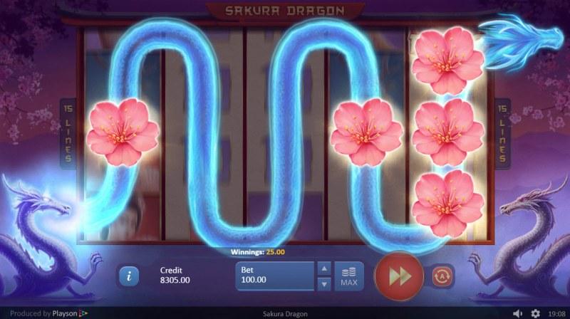 Sakura Dragon :: Wild feature randomly triggers during any spin