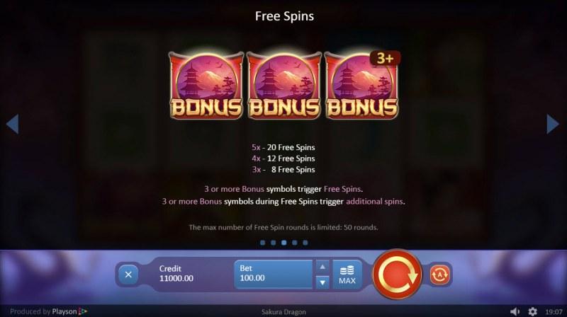 Sakura Dragon :: Free Spins Rules