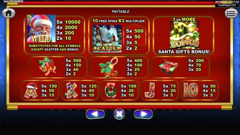 Santa Gifts :: Paytable
