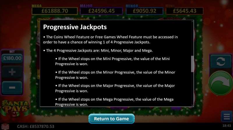 Santa Pays :: Jackpot Rules