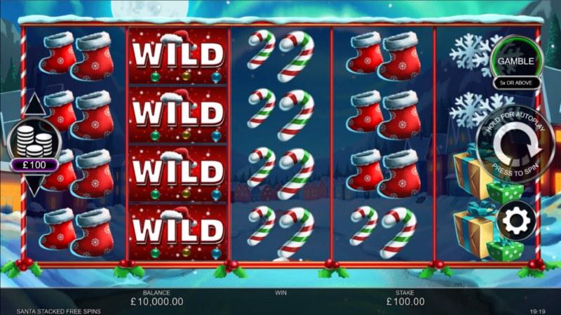 Santa Stacked Free Spins :: Base Game Screen