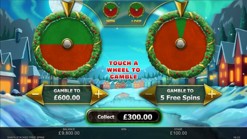 Santa Stacked Free Spins :: Gamble feature