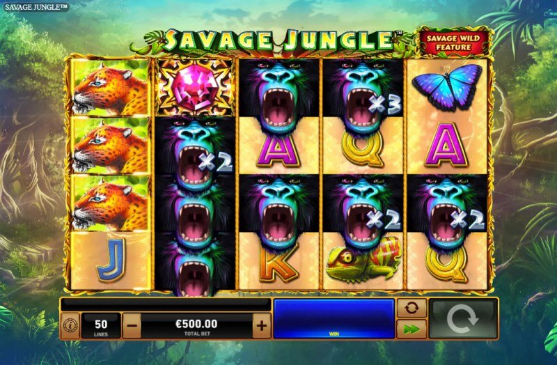 Savage Jungle :: Multiple winning combinations lead to a big win