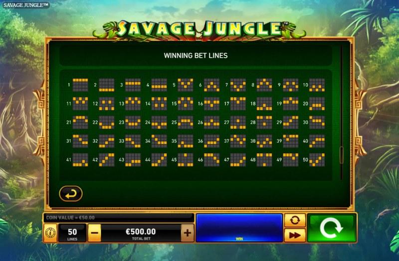 Savage Jungle :: Paylines 1-50