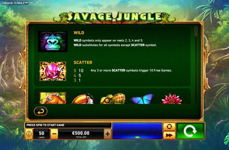 Savage Jungle :: Wild and Scatter Rules