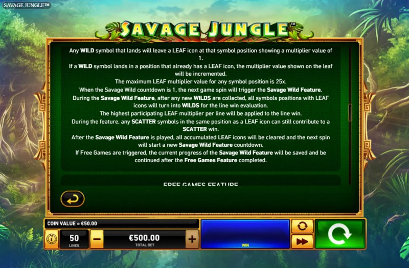 Savage Jungle :: Feature Rules