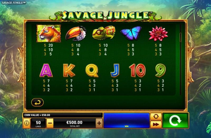Savage Jungle :: Paytable