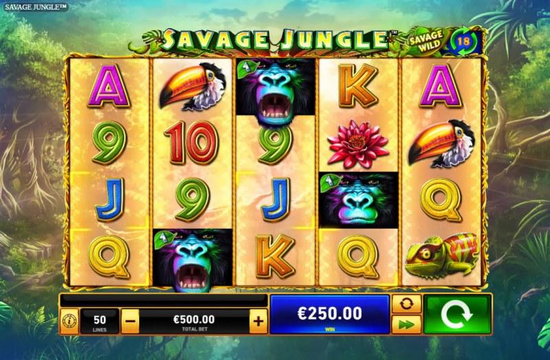 Savage Jungle :: A three of a kind win