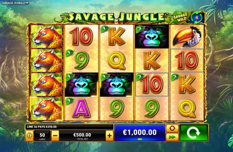 Savage Jungle :: Multiple winning paylines