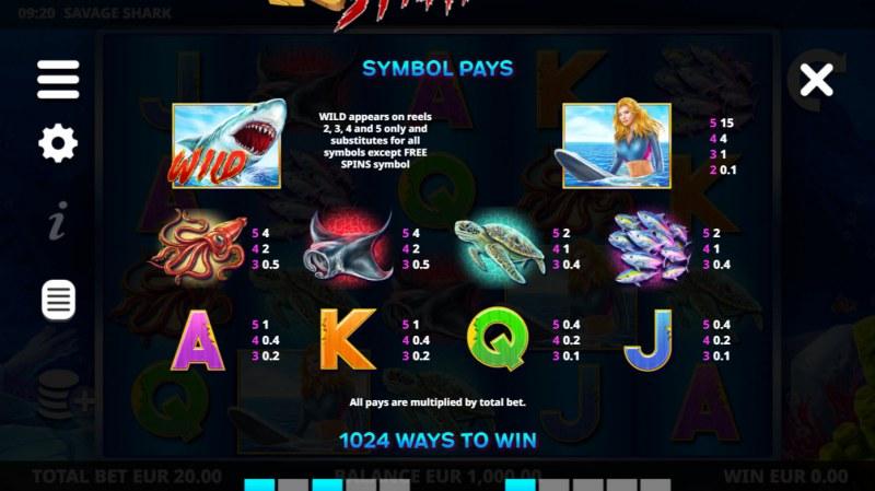 Savage Shark :: Paytable