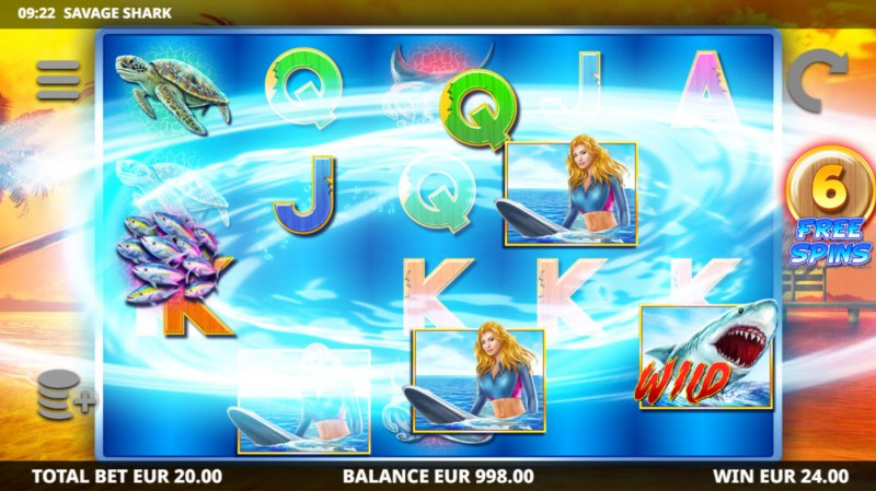 Savage Shark :: Whirlpool feature triggered on non-winning spin during free spins