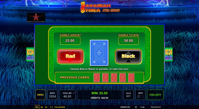 Savannah Storm :: Red or Black Gamble Feature