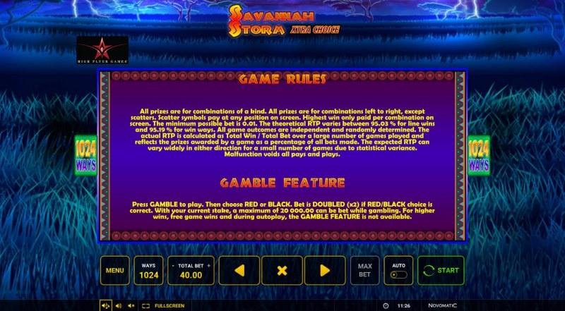 Savannah Storm :: Gamble feature