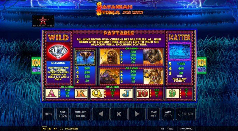 Savannah Storm :: Paytable