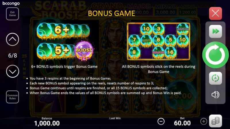 Scarab Boost Hold and Win :: Bonus Game