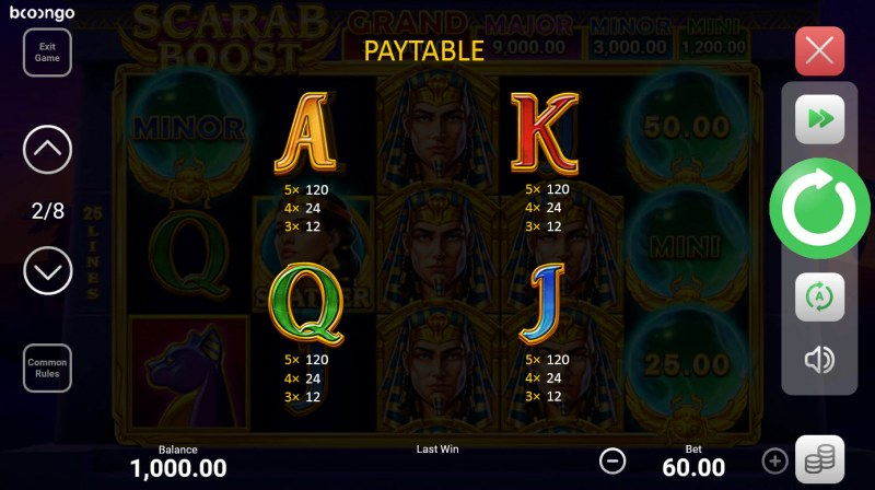 Scarab Boost Hold and Win :: Paytable - Low Value Symbols