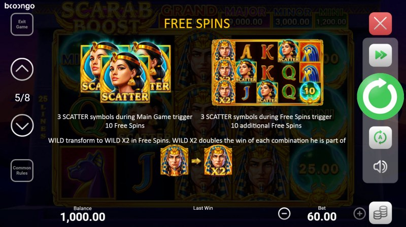 Scarab Boost Hold and Win :: Free Spin Feature Rules