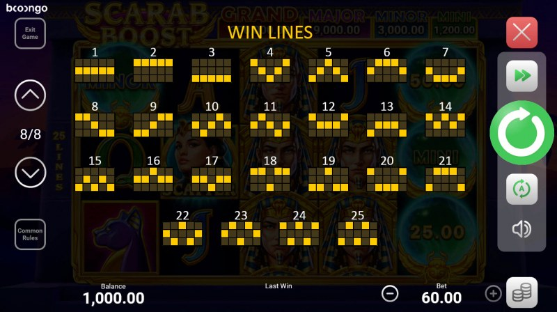 Scarab Boost Hold and Win :: Paylines 1-25