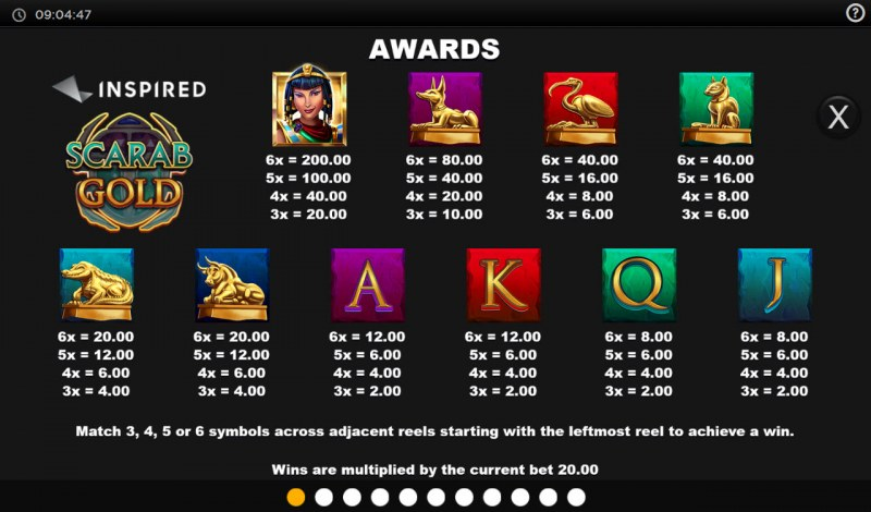 Scarab Gold :: Paytable