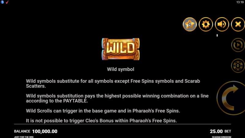 Scarab Kingdom :: Wild Symbol Rules