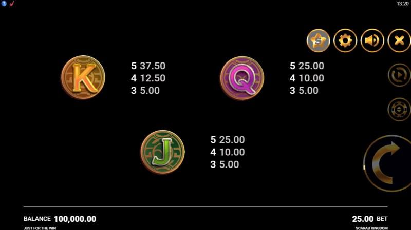 Scarab Kingdom :: Paytable - Low Value Symbols