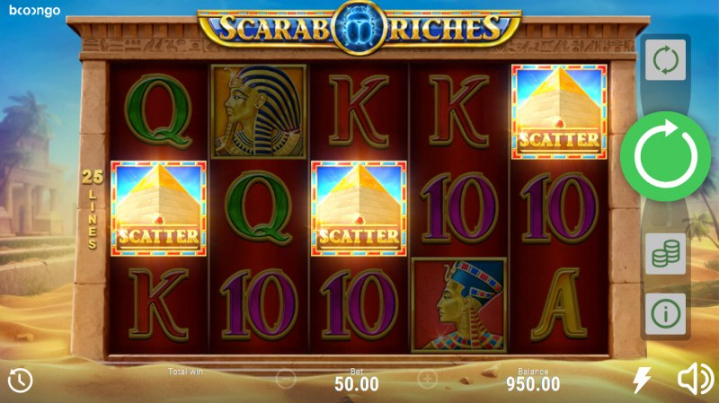 Scarab Riches :: Scatter symbols triggers the free spins bonus feature