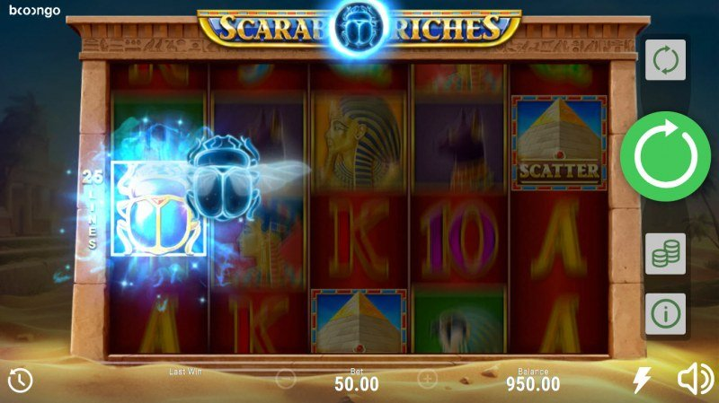 Scarab Riches :: Wild Scarab feature randomly activates during any spin