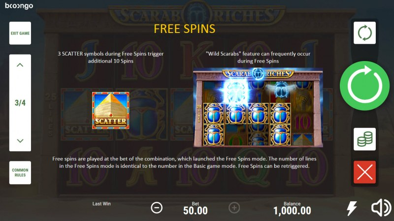 Scarab Riches :: Free Spin Feature Rules
